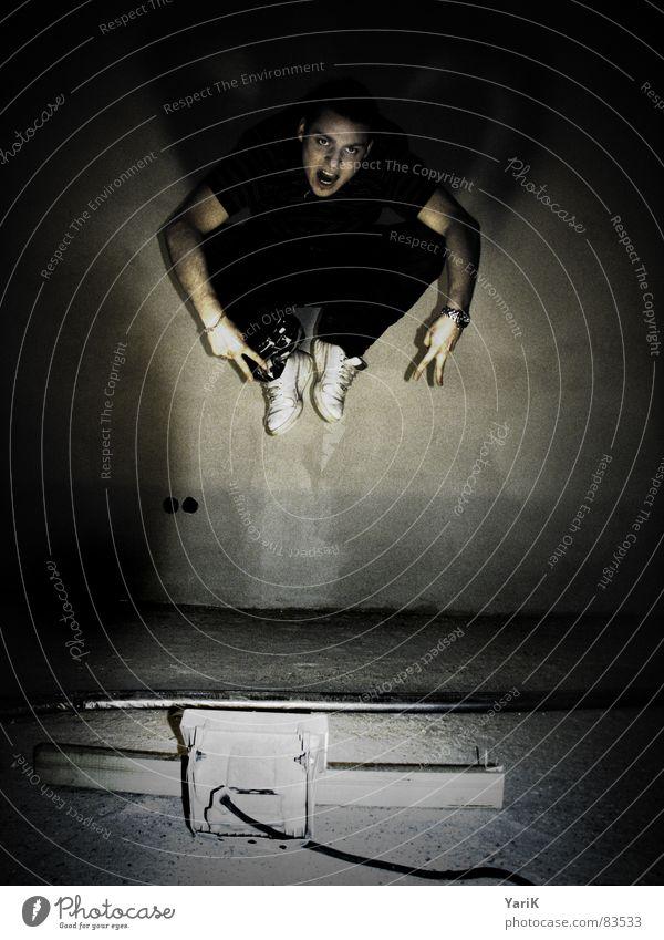 Dark Wall (building) Playing Jump Lamp Bird Flying Arm 3 Hover Stage lighting Exposure Hop Crane Drop shadow