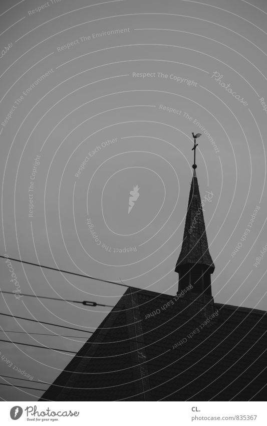 picture without message Sky Church Dark Gloomy Belief Society Religion and faith Church spire Black & white photo Exterior shot Deserted Copy Space top Day