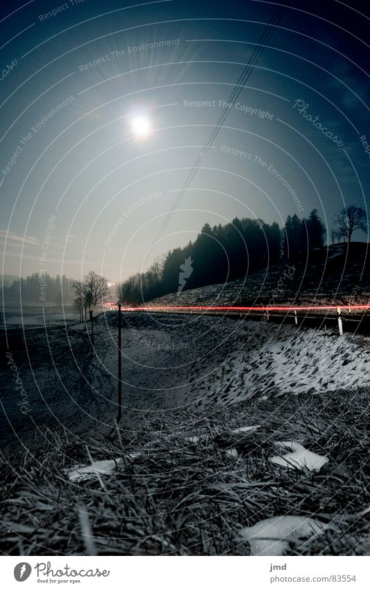 Sky Winter Forest Street Dark Cold Snow Grass Lamp Clarity Beautiful weather Switzerland Moon Curve Mystic Slope