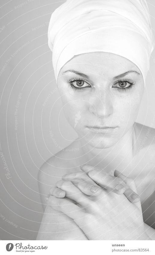 Woman Hand Youth (Young adults) Face Eyes Naked Bright Adults Fingers Shoulder Neck Face of a woman Young woman Turban Wearing makeup Naked flesh