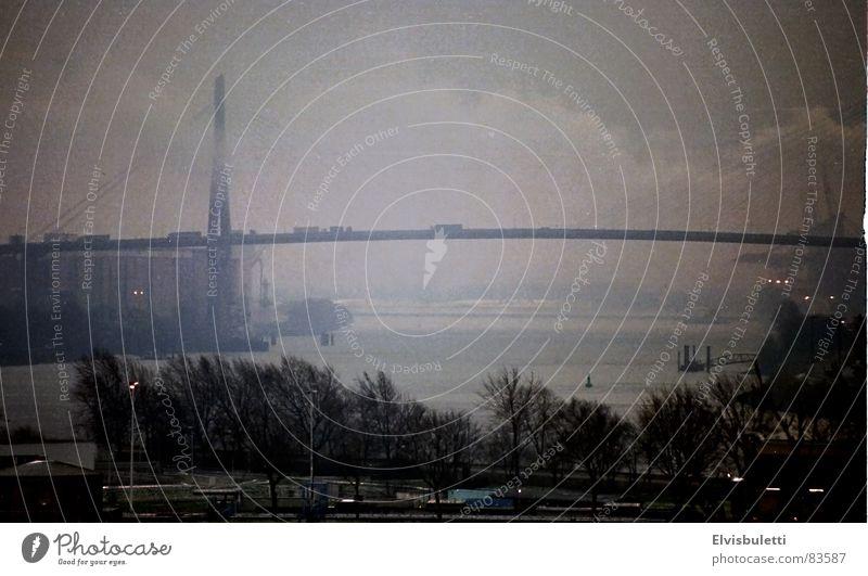 Fog Bridge Vantage point Harbour Hamburg Elbe Vignetting Bad weather Altona