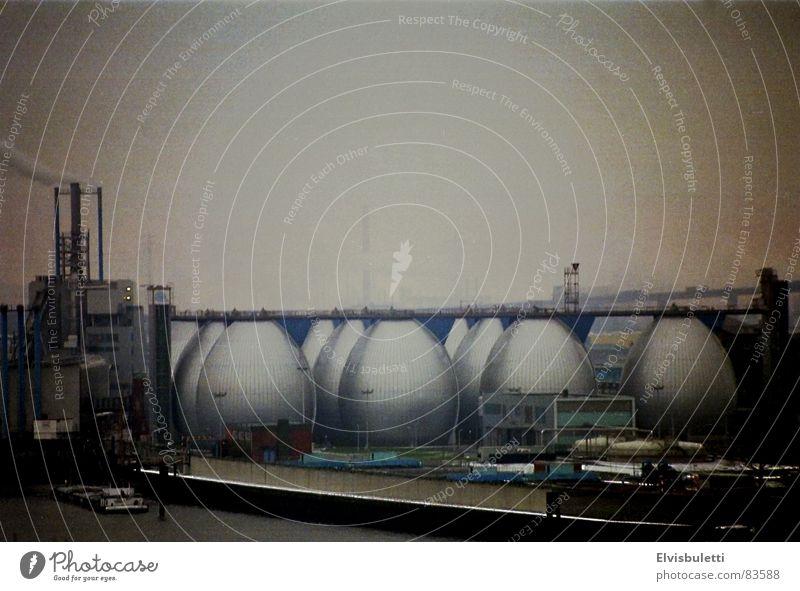 Fog Industry Vantage point Harbour Elbe Hamburg Vignetting Bad weather Altona Sewage plant