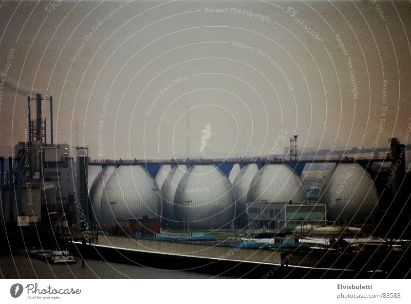 Hamburg Easter Eggs Sewage plant Fog Bad weather Vignetting Industry Altona Vantage point Elbe Harbour transit