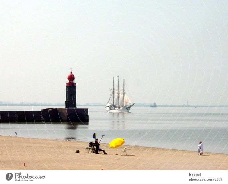 TV recordings on the beach of Bremerhaven Beach Watercraft Lighthouse Ocean Summer Vacation & Travel Television