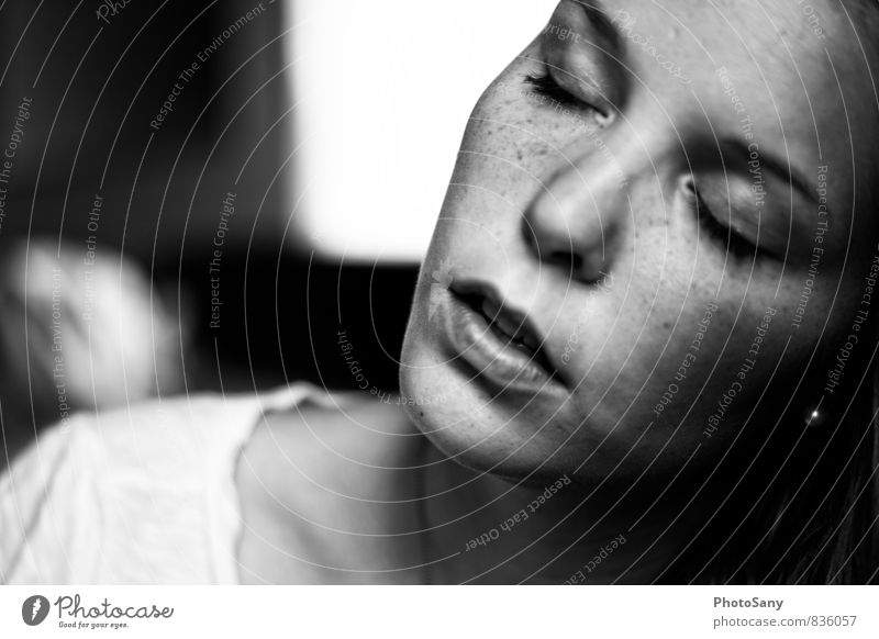 pause. Human being Feminine Nose Mouth 1 Authentic Gray Black Silver White Black & white photo Interior shot Copy Space left Day Shadow Contrast