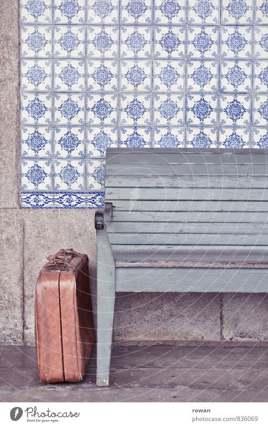 travel Wall (barrier) Wall (building) Facade Vacation & Travel Bench Suitcase Leather case Wait Depart Train station Old fashioned Retro Portugal Colour photo