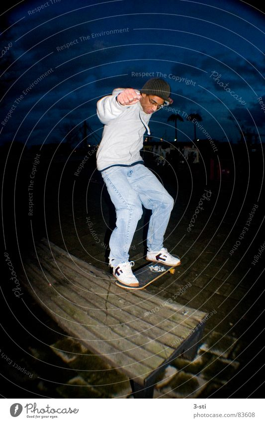Skateboard slide Movement Slide Annoy Skid Skateboarding Night Dark Leisure and hobbies Sports Style Fisheye Wide angle Lust Joy Vacation & Travel Young man