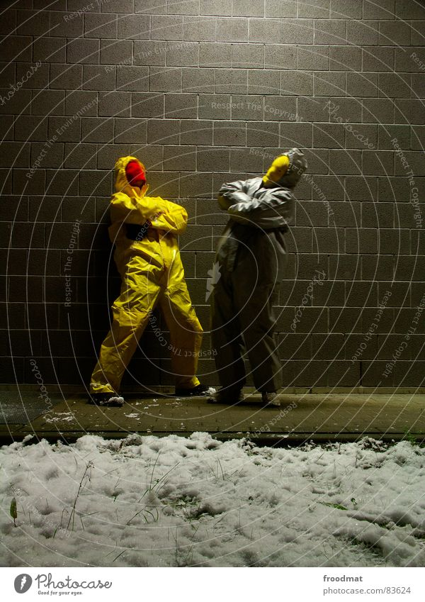 Joy Winter Yellow Snow Wall (building) Gray Art Funny Crazy Posture Mask Suit Stupid Surrealism Rubber Futile