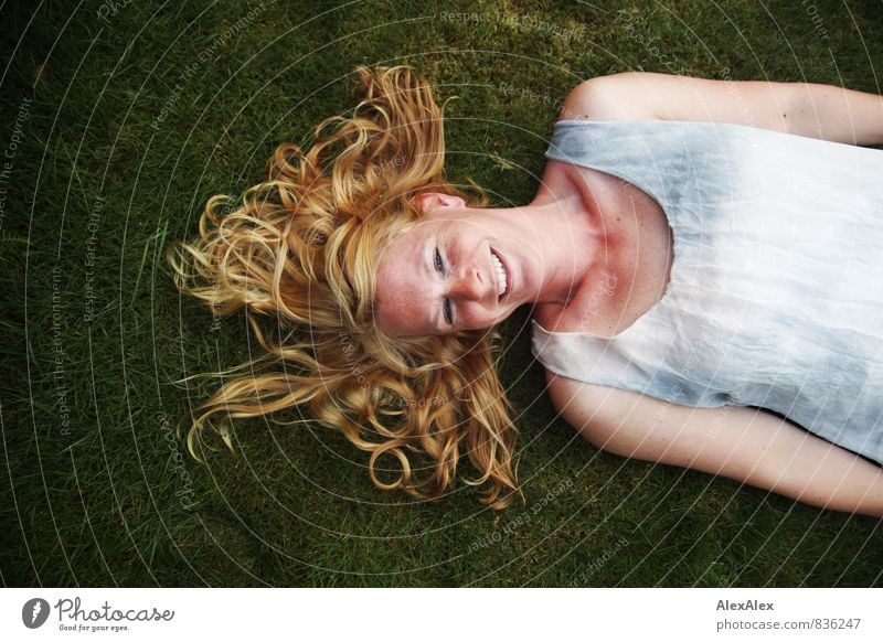 mermaid with golden hair Young woman Youth (Young adults) Hair and hairstyles Freckles 30 - 45 years Adults Grass Moss Garden Dress Blonde Long-haired Smiling
