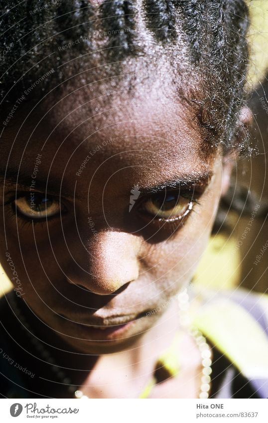 instant Mistrust Cautious Girl Child Africa Black Braids Plaited Ethiopia Looking Woman Goggle eyes Face Skin color Fix Saucer-eyed Young woman Complexion