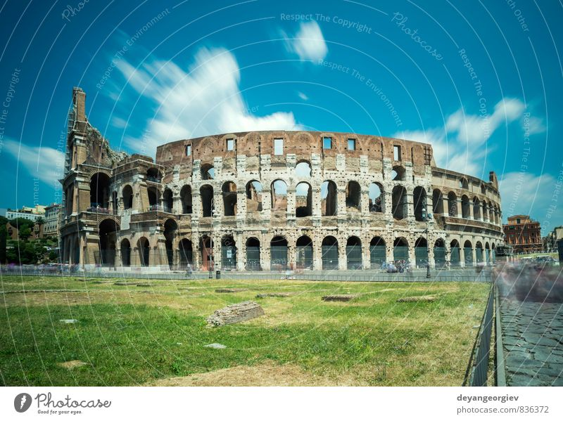 The Colosseum in Rome Vacation & Travel Summer Stadium Theatre Culture Sky Grass Ruin Building Architecture Monument Stone Old Historic Blue Italy coliseum