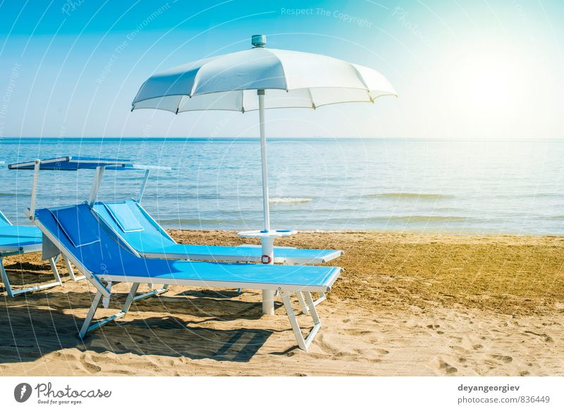 Blue sunbeds and umbrellas on the beach Luxury Beautiful Relaxation Leisure and hobbies Vacation & Travel Tourism Summer Sun Beach Ocean Island Chair Nature