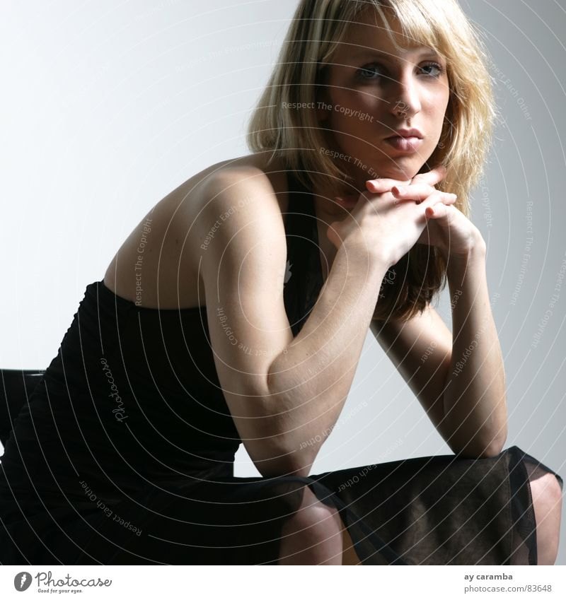 Woman Beautiful Mouth Blonde Esthetic Chair Dress Square Fatigue Boredom Reluctance