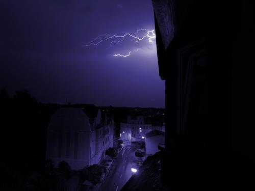 Thunderstorm House (Residential Structure) Lightning Storm Night Town Thunder and lightning Street
