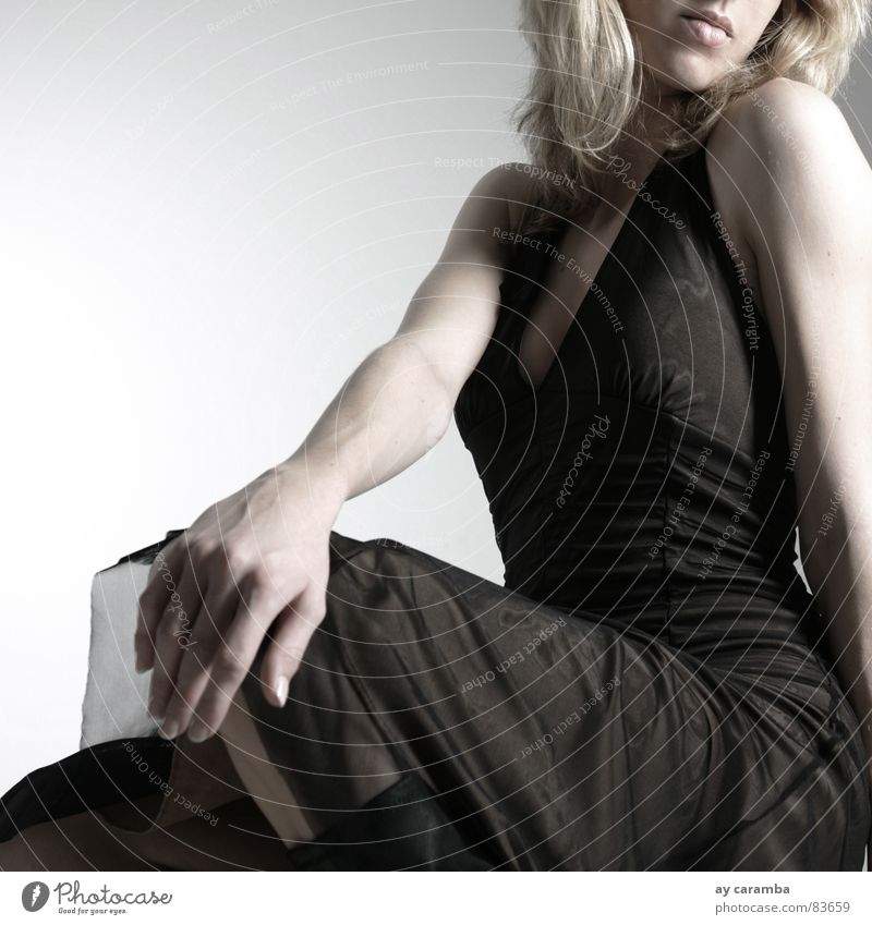 without words Woman Blonde Dress Grief Beautiful To tire out Tasty Lady Young woman Boredom Chair Sit Sadness Fatigue elegant woman Lifeless