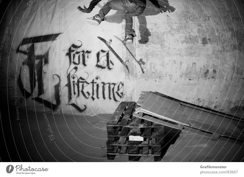 For a Lifetime 02 Skateboard Skateboarding Kickflip Salto Jump Warehouse Depot Extreme sports skaterboy Soccer player obstacle Storage