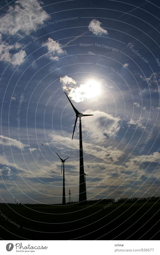 in the slipstream Energy industry Renewable energy Wind energy plant Landscape Sky Clouds Sun Beautiful weather Future Colour photo Subdued colour Exterior shot