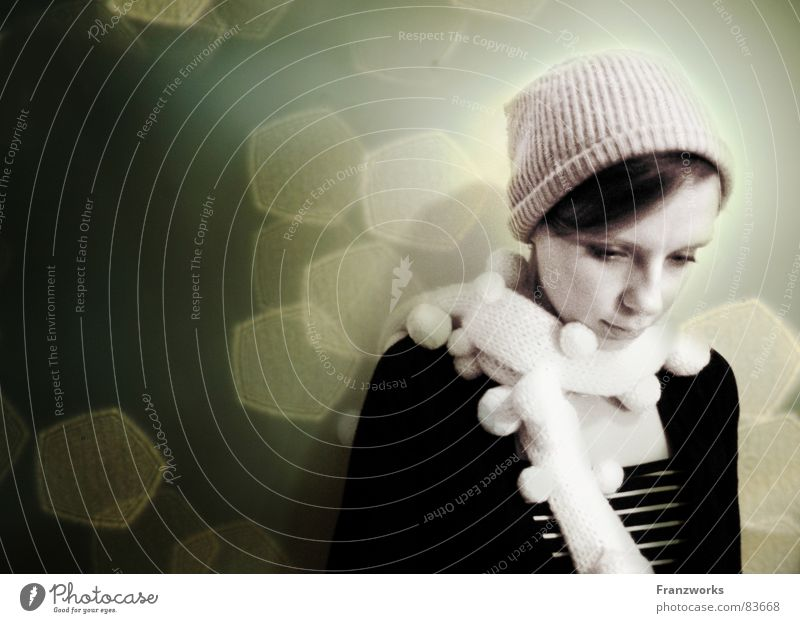 Woman Emotions Sadness Think Dream Star (Symbol) Grief Cap Thought Scarf Invent Pensive