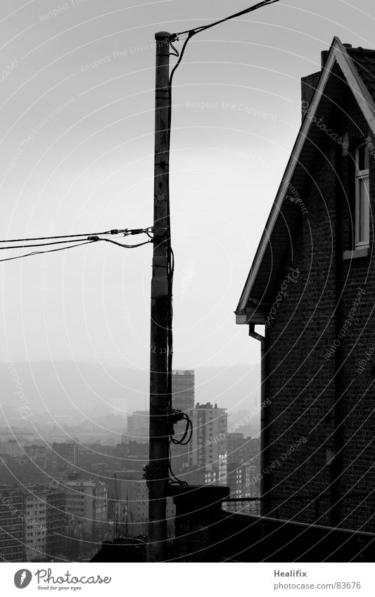 Cloud Connected Electricity pylon Converse High-rise Comfortless House (Residential Structure) Town Winter Fog Damp Black White Gloomy Loneliness Wet Grief