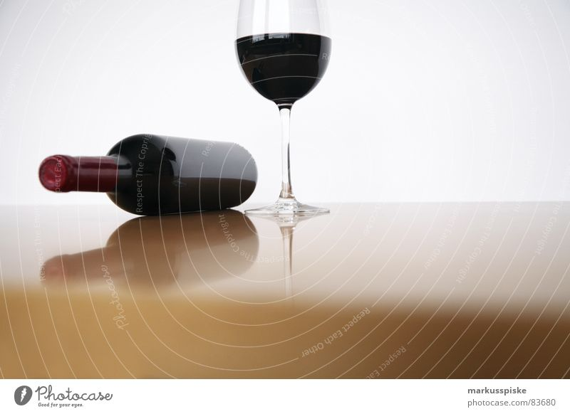 red wine with glass Bottle of wine Transparent Style Red Red wine Wine glass Drinking Cloth Alcoholic drinks Gourmet Close-up Closed Table Gastronomy Glass