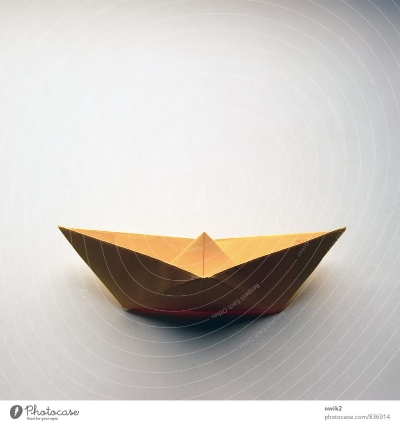 Sailing for beginners Work of art Paper Paper boat Folded Transport Means of transport Navigation Sharp-edged Simple Near Maritime Yellow 1 Uniqueness