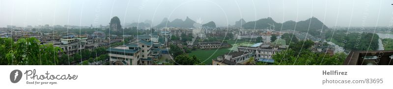 Nature Guilin Sky Green City Loneliness Far-off places Meadow Grass Mountain Landscape Fog Large Perspective Lawn River