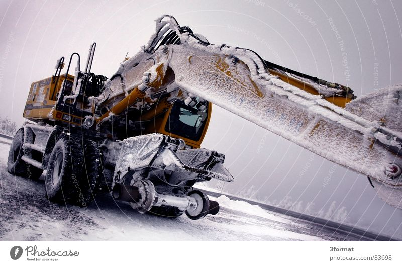 Winter Calm Cold Snow Ice Power Force Might Construction site Machinery Motionless Hard Extreme Excavator Colossus