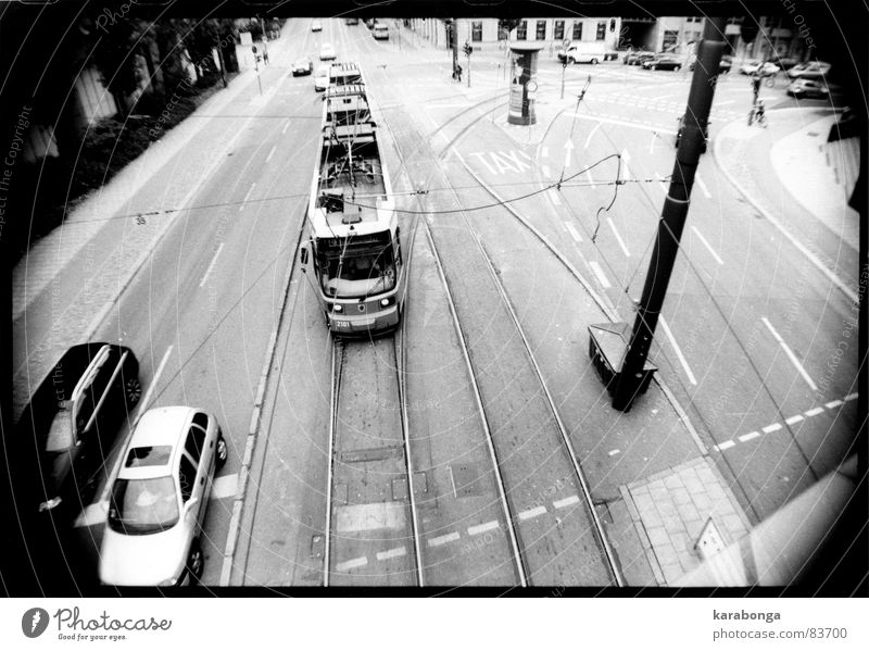 almost new york Tram Town New York City Vacation & Travel Freeway Road traffic Traffic infrastructure Black & white photo tramway