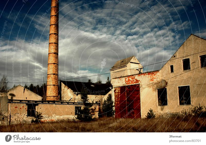 Old Sky Sun Calm Clouds Loneliness Building Industry Factory Transience Derelict Ruin Chimney East Dismantling Vacancy
