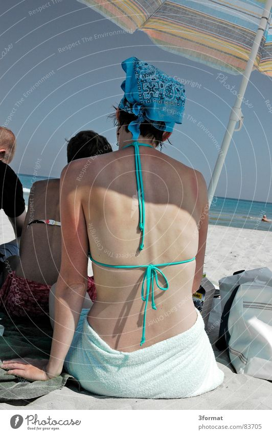 parasol Lake Headscarf Bikini Woman Ocean Beach Turquoise Rügen Vacation & Travel Familiar Physics Calm Rustling Horizon Young woman Sunshade Sunbathing Shadow