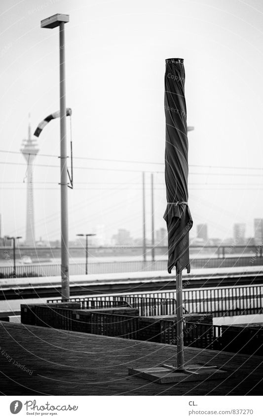 most beautiful city on the rhine Sky Town Places Bridge Tourist Attraction Rheinturm Sunshade Duesseldorf Black & white photo Exterior shot Deserted Day