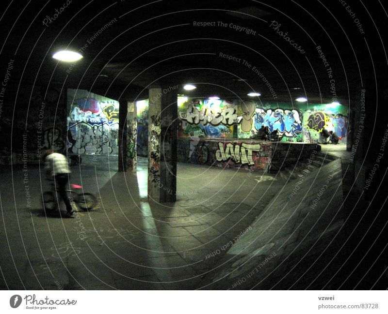 Youth (Young adults) Graffiti Playing Group Bicycle BMX bike Vicinity Dugout Puberty