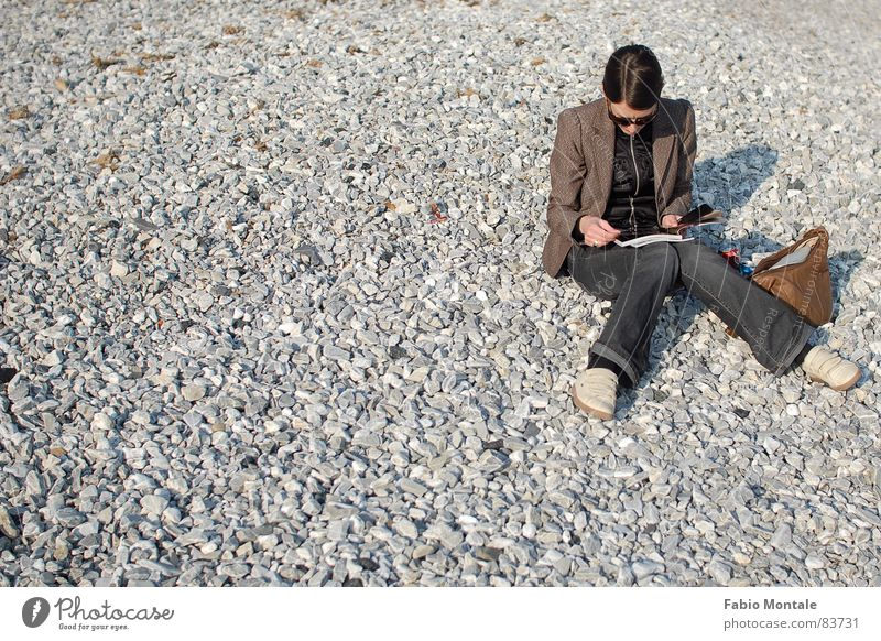 Winter Beach Reading Knock-kneed Beach life Liguria Pebble beach