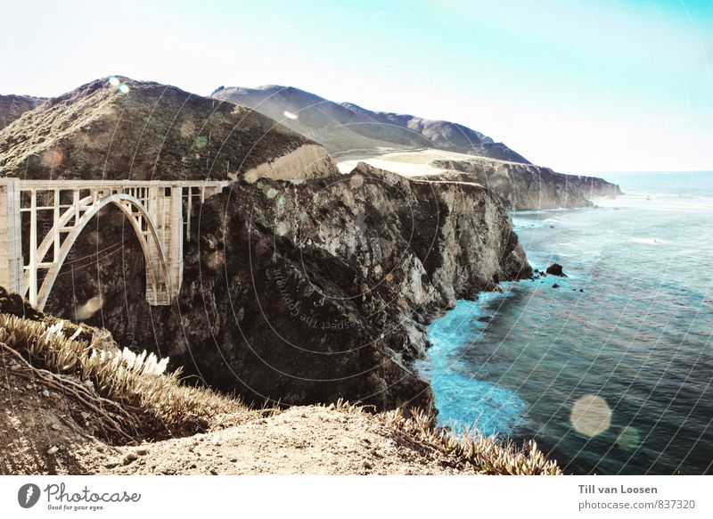 Bixby Bridge Environment Nature Landscape Elements Water Sky Cloudless sky Summer Coast Ocean Manmade structures Architecture Tourist Attraction Street Large