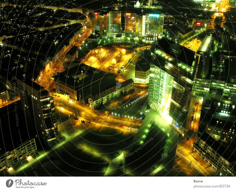 City Lighting Glittering High-rise Aerial photograph Modern Energy industry Electricity Aviation Vantage point Lantern Skyline Traffic infrastructure