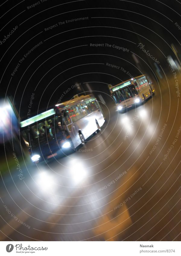 busrace1 Night Light Reflection Motion blur Transport Bus Evening