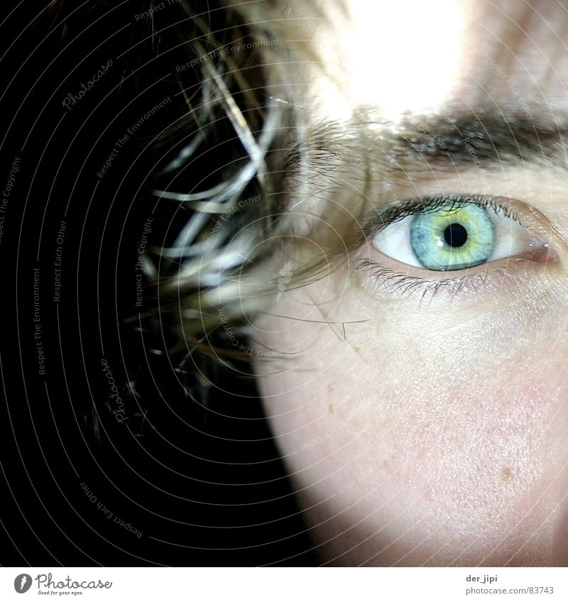 Geometric optics Round Pupil Cheek Green Turquoise Cold Black Face Blue-green Close-up Perspective Audience Vision Bundle Looking Vantage point Focus on