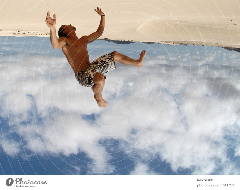 Sky Vacation & Travel Youth (Young adults) Summer Ocean Joy Beach Sports Flying Brown Sand Jump Air Earth Stand Happiness