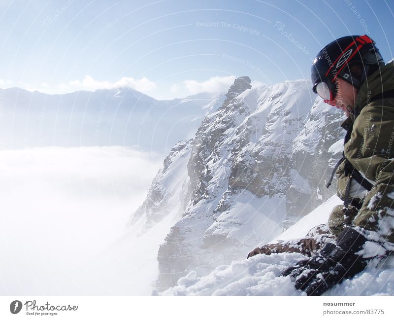 Nature Winter Mountain Snow Sports Playing Rock Fog Sit Vantage point Large Beautiful weather Snowcapped peak Concentrate Jacket Downward