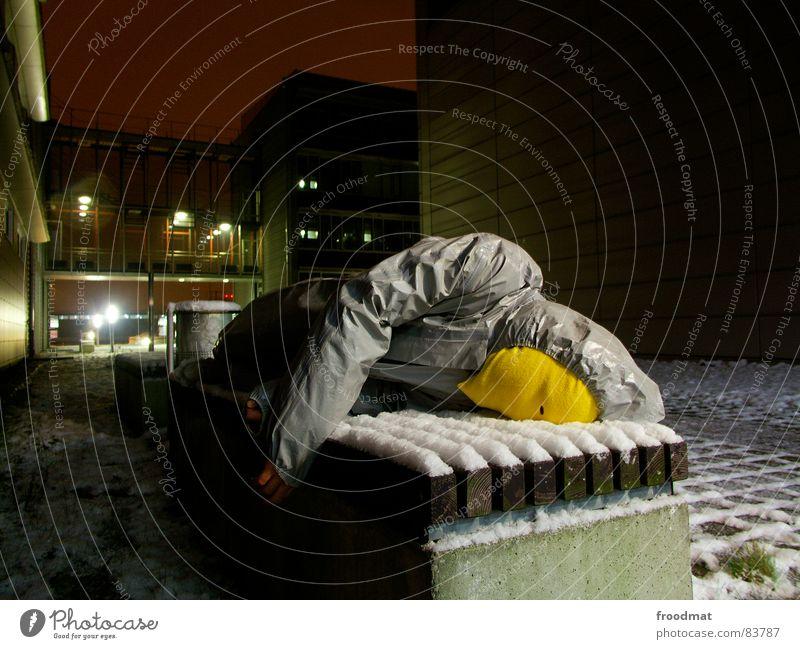 Joy Yellow Cold Snow Gray Art Funny Crazy Bench Lie Mask Suit Stupid Surrealism Rubber Futile