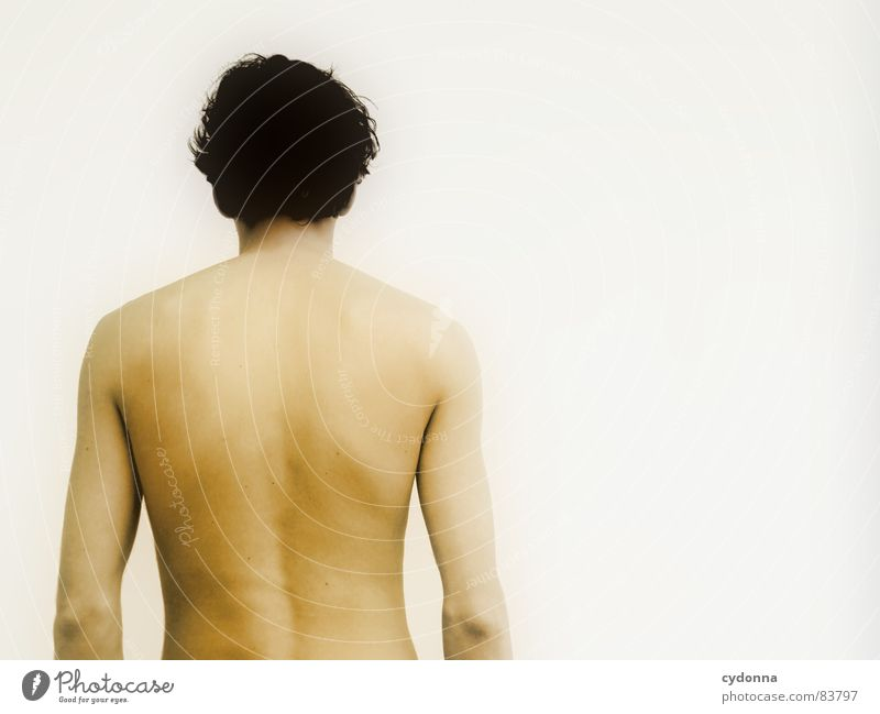 Who am I? Who am I? I Man Naked Invisible Mysterious Identity Wall (building) Portrait photograph Cold Looking away Rear side Barrier Row Upper body Human being