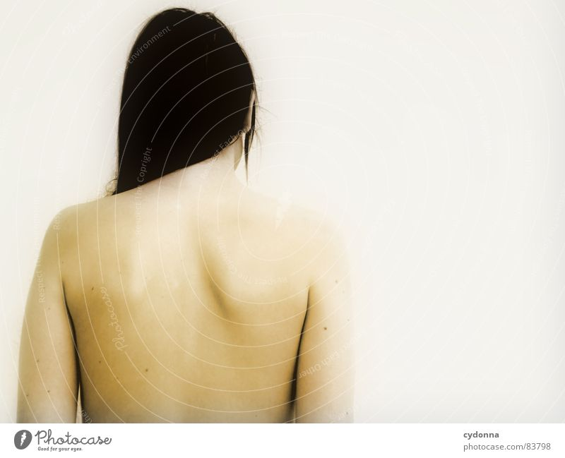 Who am I? Who am I? SECOND Woman Naked Invisible Mysterious Identity Wall (building) Portrait photograph Cold Looking away Rear side Barrier Row Upper body