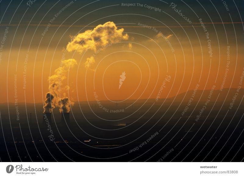 AKW sunset Nuclear Power Plant Fog Sunset Sky Industry hazy Steam Orange landscape powerplant
