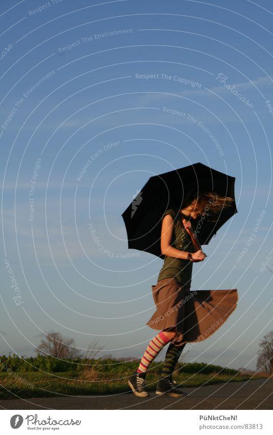 rock on Umbrella Tree Chucks Clouds Autumn striped socks Street