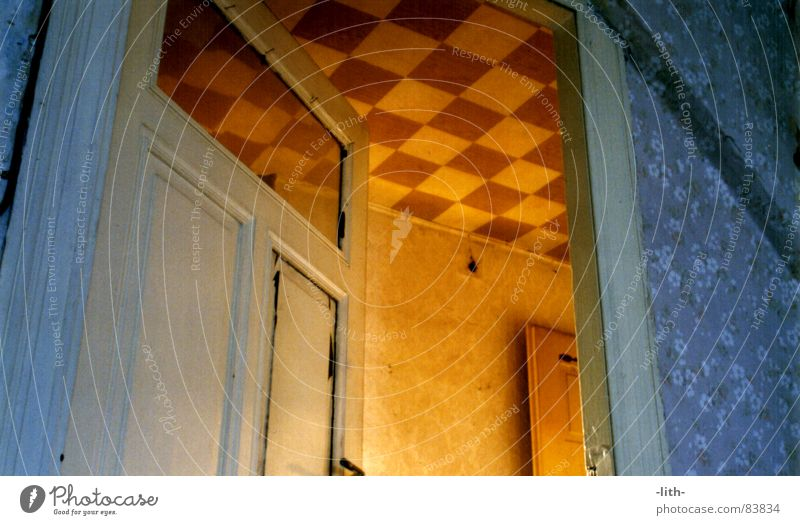 Blue Room Orange Door Open Derelict Hallway Passage Floral wallpaper