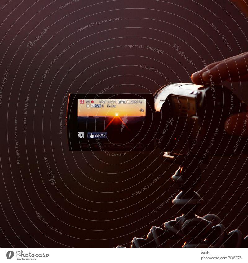 Human being Sun Brown Horizon Dream Fingers Romance Camera Media Film industry Video camera Hardware Filming Tripod