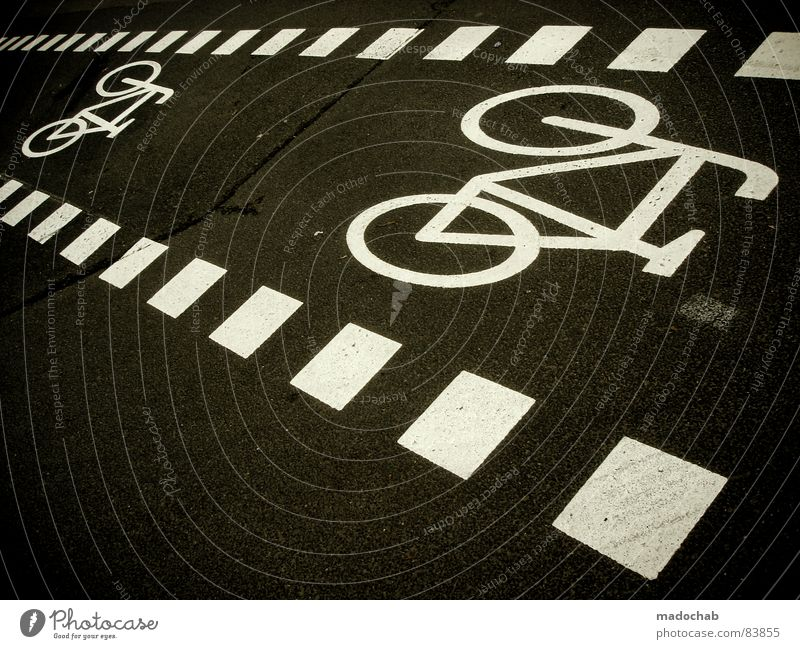 BIKE City Joy Street Life Lanes & trails Gray Movement Bicycle Signs and labeling Transport Communicate Driving Illustration Asphalt Square