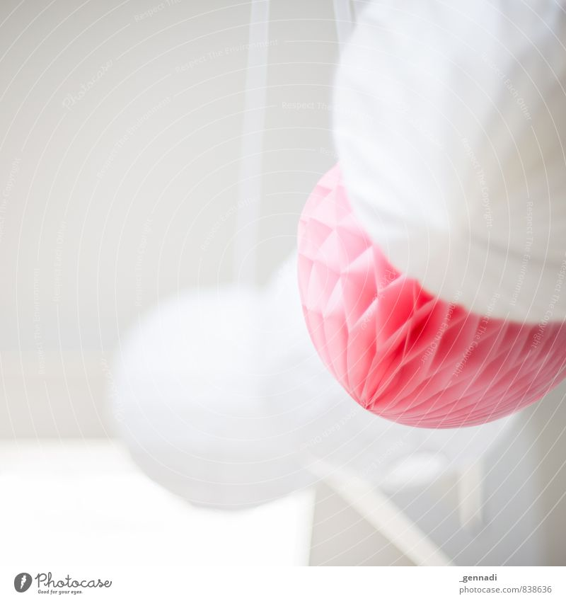 squashy Decoration Pink White Soft Calm Delicate Bright Friendliness Beautiful Sphere Colour photo Interior shot Copy Space left Shallow depth of field