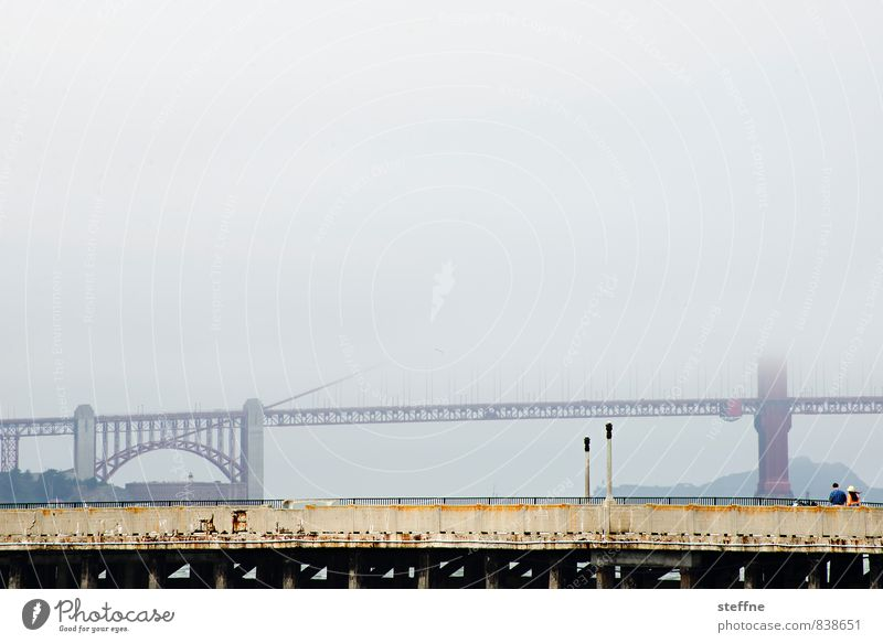 USA Landmark Tourist Attraction Haze California Shroud of fog San Francisco Golden Gate Bridge