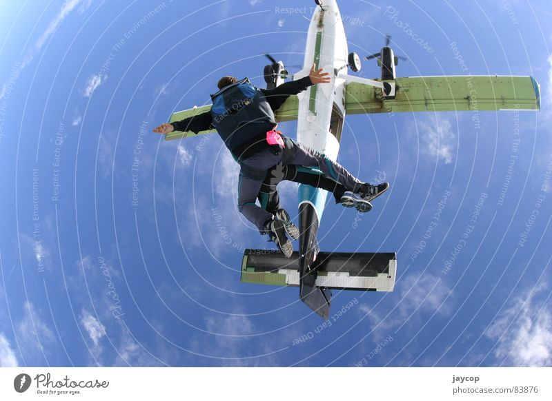 sky jump Covers (Construction) Jump Blue sky Extreme sports aeroplane adrenaline extreme sport skydive extremely jump out airplane jumpstart jump-start